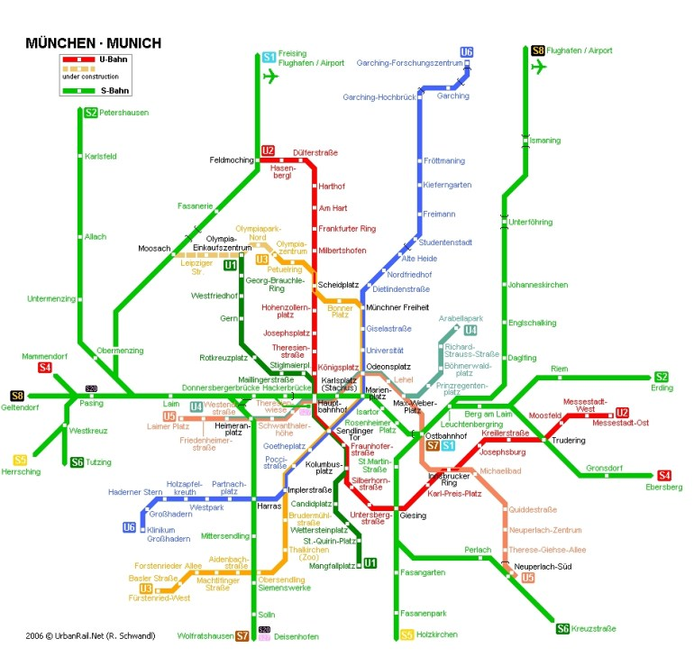 Munich Subway Map For Download | Metro In Munich - High-Resolution throughout Map Of Munich Germany In English