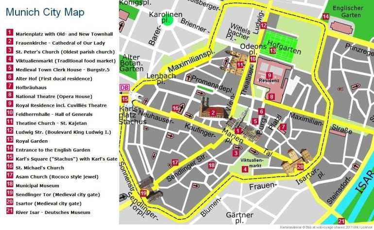 Munich Tourist Information with regard to Map Of Munich Germany In English