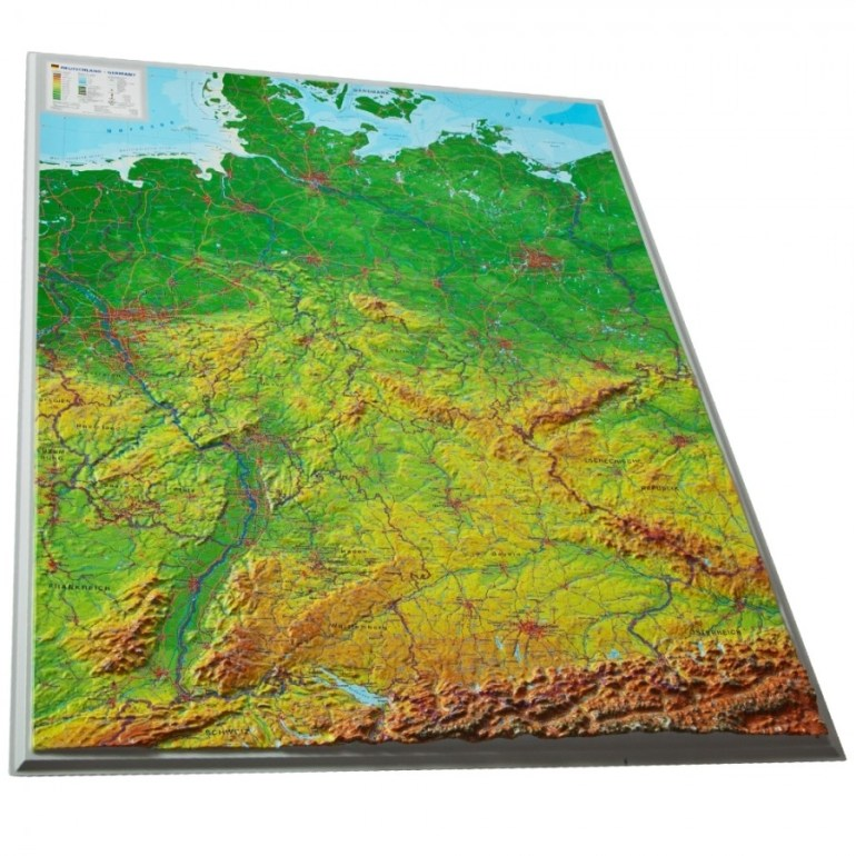 Plastic 3D Map Of Germany - See The Bavarian Alps In Full Relief throughout German Ordnance Survey Maps