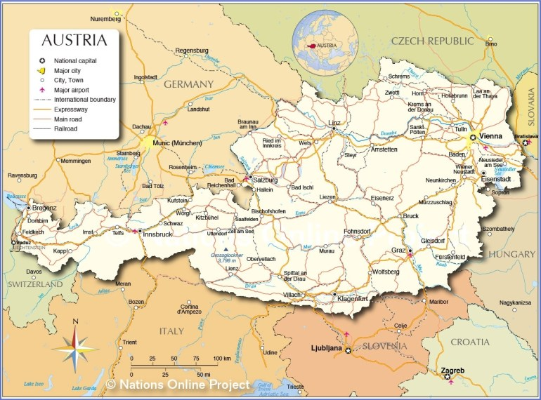 Political Map Of Austria - Nations Online Project with Map Of Germany And Austria With Cities