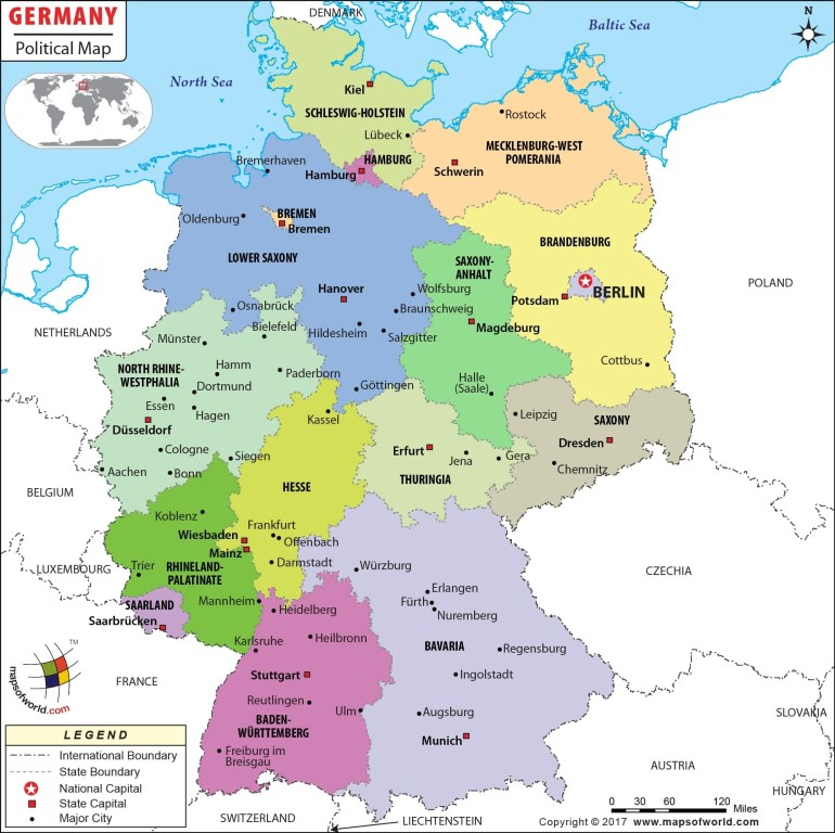 Political Map Of Germany | Germany States Map within German Map With States And Cities
