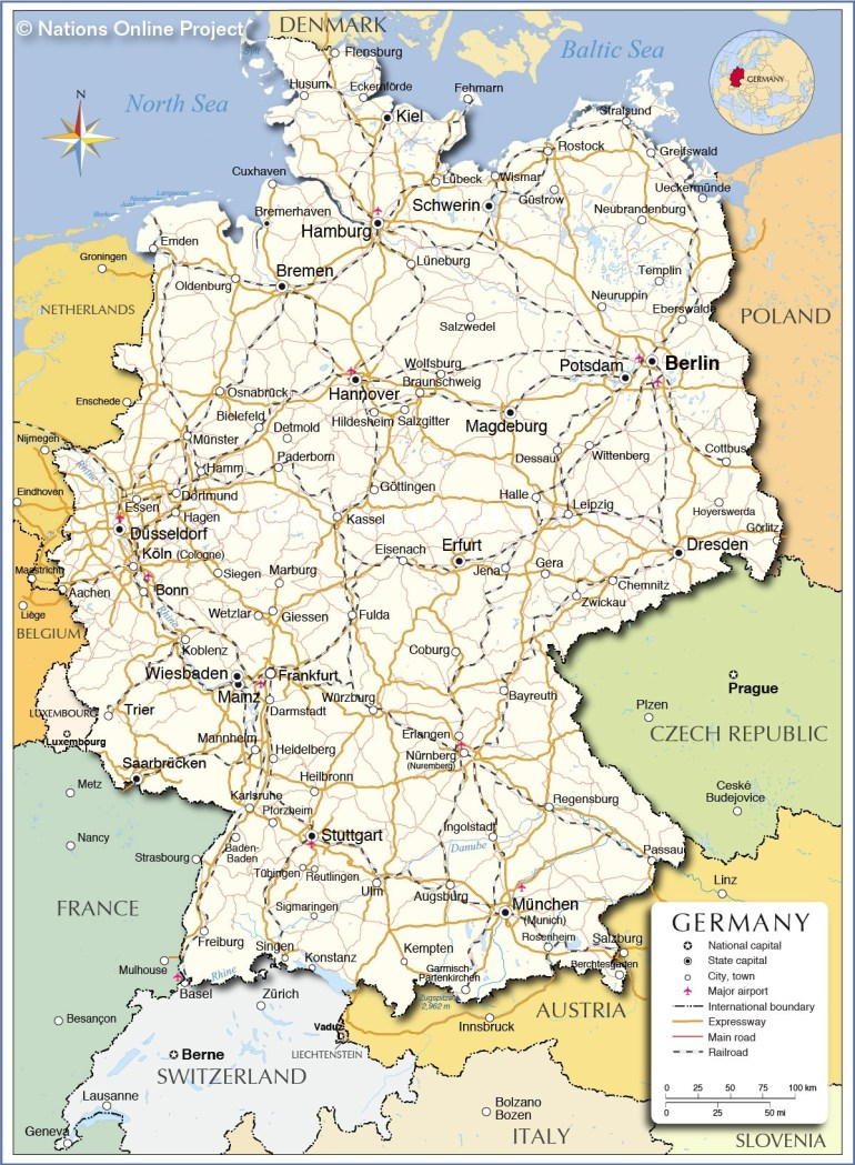 Political Map Of Germany - Nations Online Project regarding Outline Map Of Germany And Surrounding Countries