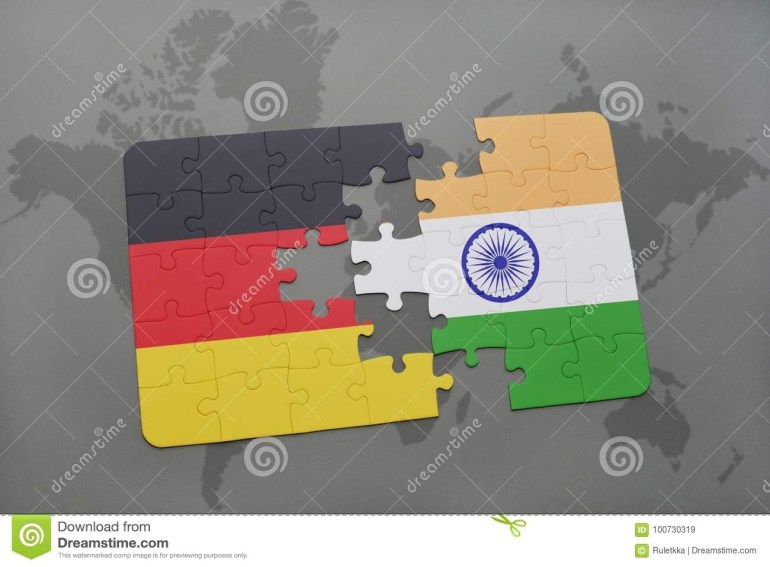 Puzzle With The National Flag Of Germany And India On A World Map with regard to World Map Germany And India