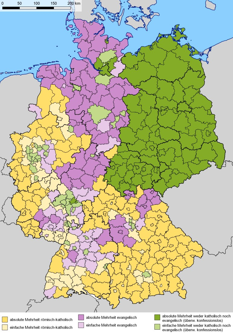 Religion In Germany - Wikipedia intended for East West Germany Map