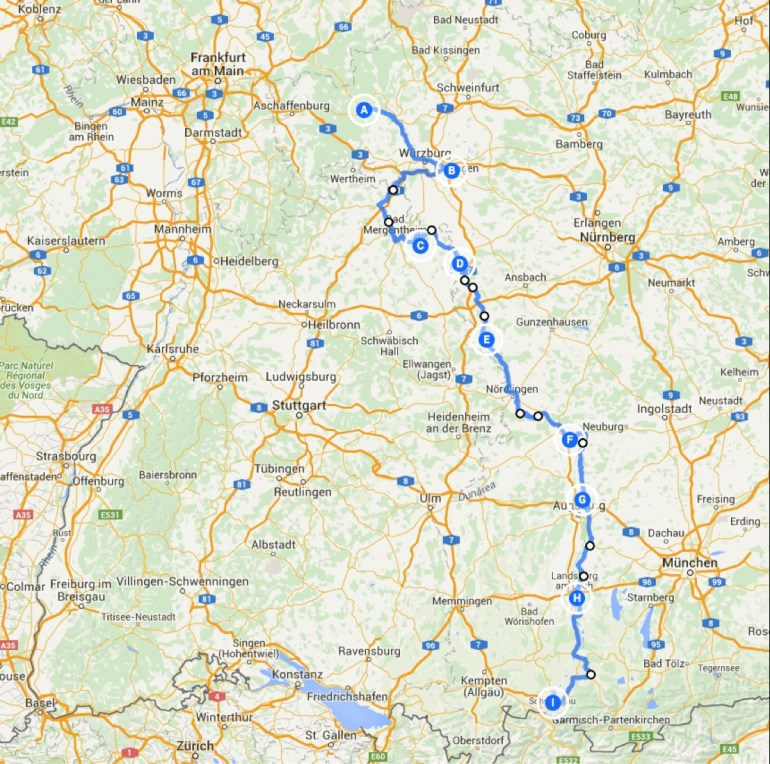 Romantic Road Germany Map | Fysiotherapieamstelstreek within Romantic Road Germany Map