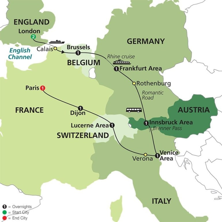 Seven Countries, Venice & Paris In 2019 | Mike And Katie's Travel for Map Of France Germany Switzerland Austria And Italy