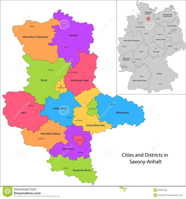 State Of Germany - Saxony-Anhalt Stock Vector - Illustration Of with regard to Germany Districts Map