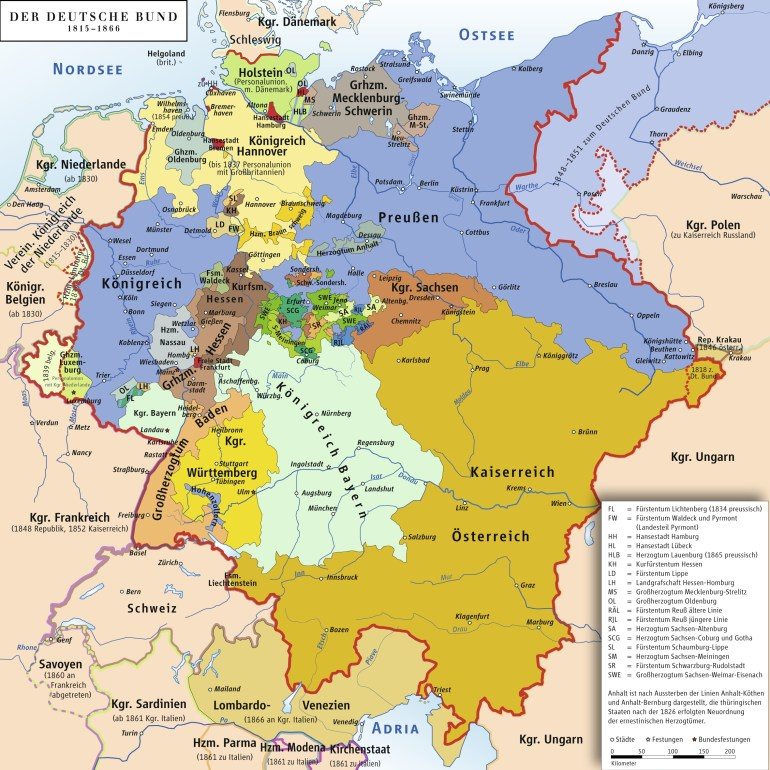States Of The German Confederation Map 1815-1866 - Vgs German Sig in Map Of Germany In German Language