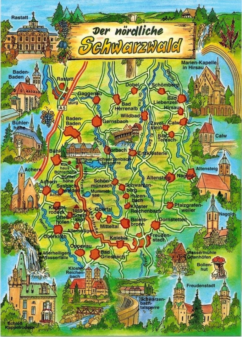 The Black Forest Is A Wooded Mountain Range In Baden-Württemberg pertaining to Black Forest Area Germany Map