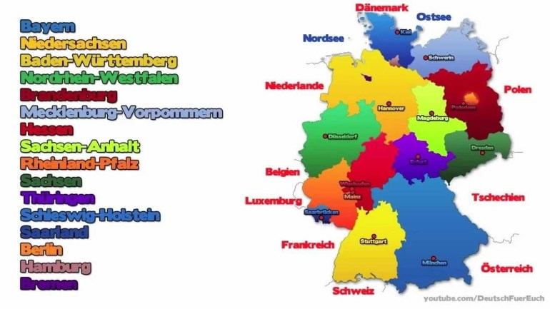 The Detailed Map Of Germany With Regions Or States And Cities Vector with German States And Capitals Map