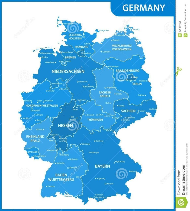 The Detailed Map Of The Germany With Regions Or States And Cities with regard to Germany Map States Cities