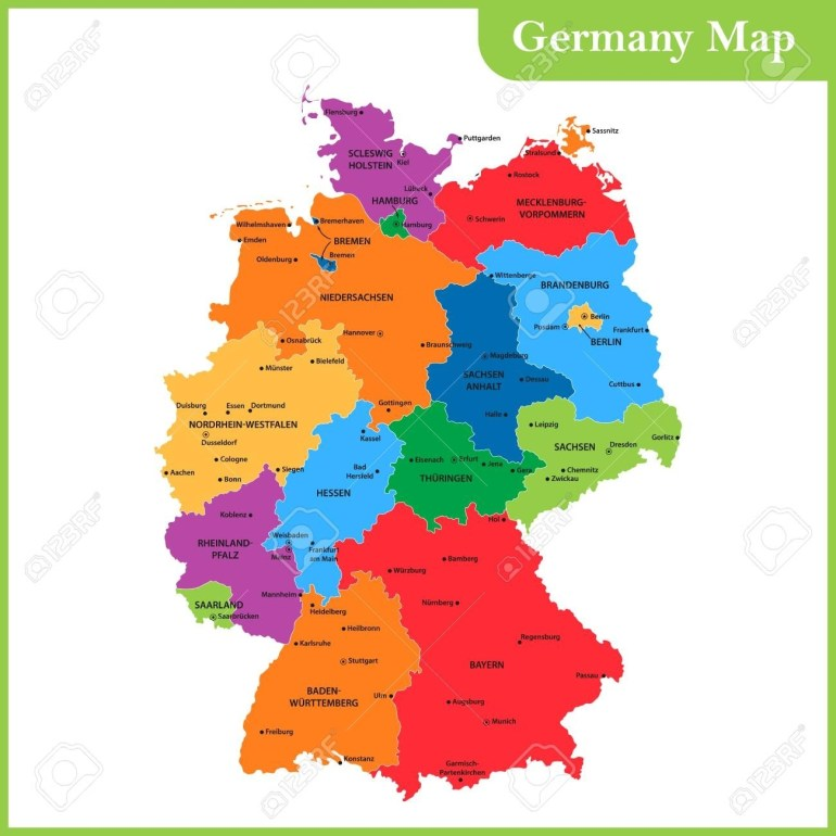 The Detailed Map Of The Germany With Regions Or States And Cities,.. with regard to Map Of Germany With States And Cities