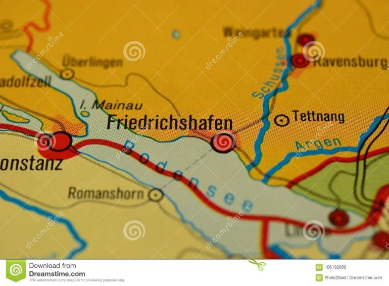 The Word Friedrichshafen On The Map Stock Image - Image Of in Friedrichshafen Germany Map