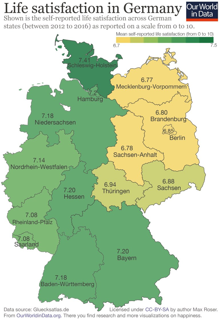 There Is A 'happiness Gap' Between East And West Germany - Our World with Berlin East Germany Map
