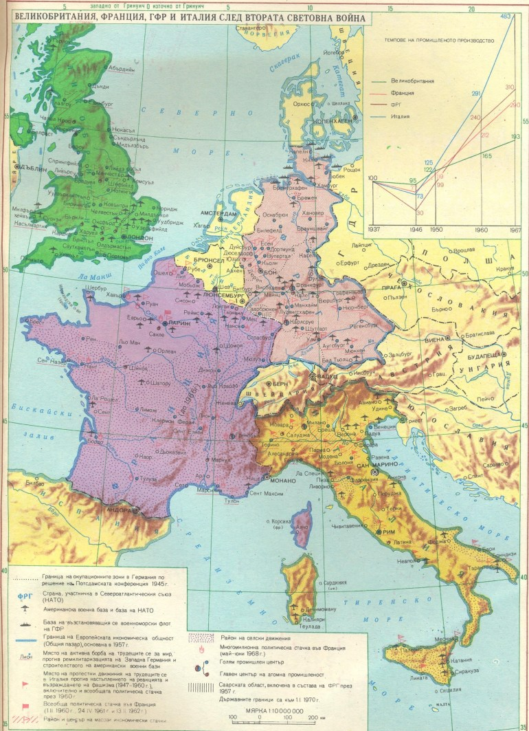 Uk, France, Germany And Italy After Ww 2 | Hd Maps throughout Map Of Germany And France