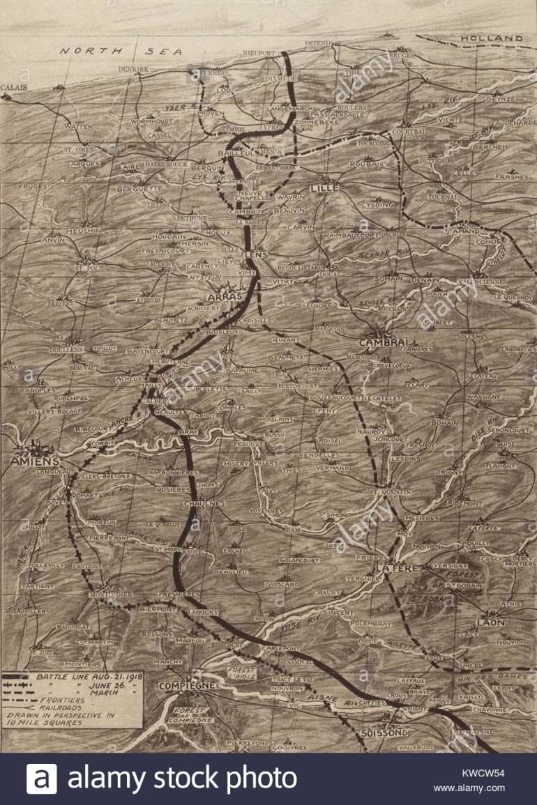 World War 1. Map Of The Western Front During The German Spring Stock pertaining to Map Of Germany During World War 1