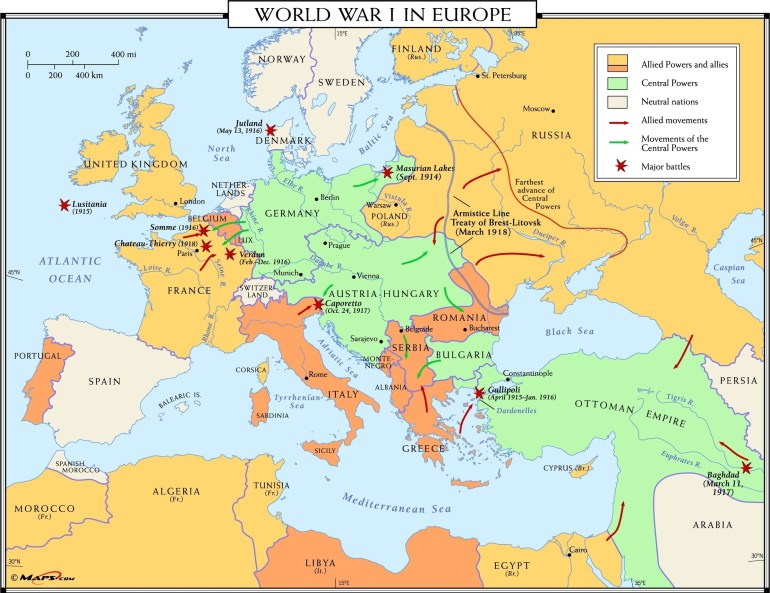 World War I In Europe Wall Map regarding Map Of Germany During World War 1