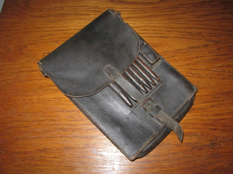 Ww2 German / Luftwaffe M35 Leather Dispatch Map Case #2 - Named - Very Nice! in German Map Case Ww2