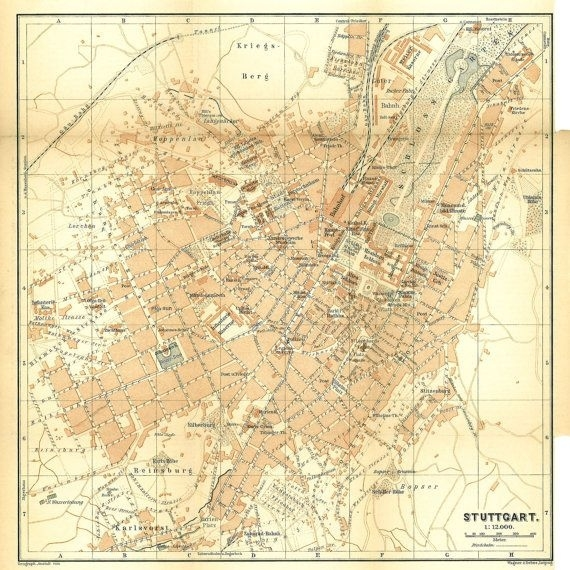 1896 Stuttgart Original Vintage City Map for Stuttgart On World Map