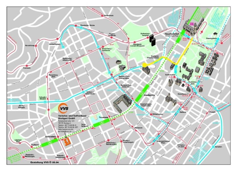 Detailed Street Map Of Central Part Of Stuttgart City with regard to Stuttgart Germany Metro Map
