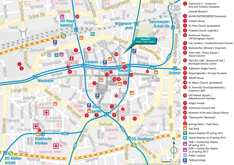 Dortmund Tourist Attractions Map within Stuttgart Germany City Map