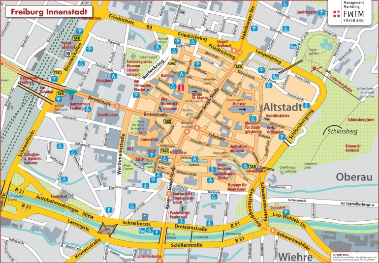 Freiburg City Center Map with Stuttgart City Centre Map