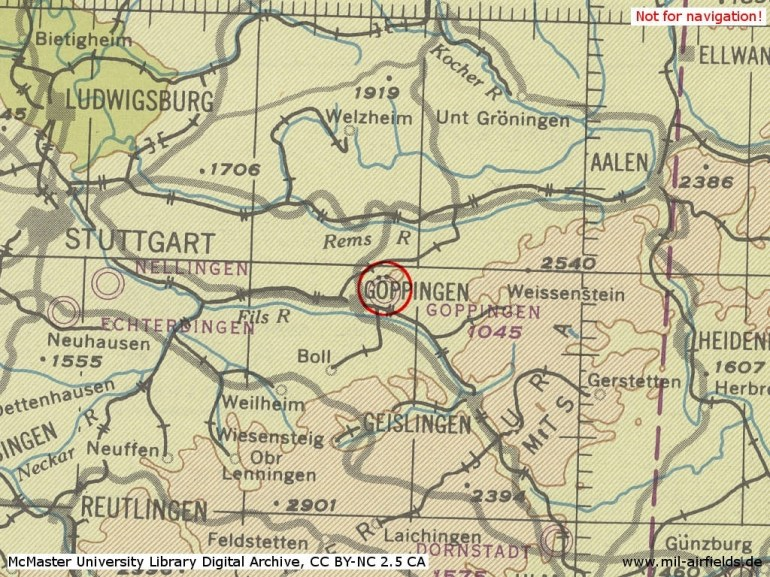 Göppingen Army Airfield - Military Airfield Directory regarding Map Of Stuttgart Germany Army Base