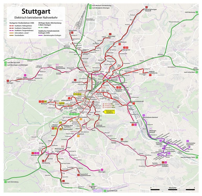 Large Detailed Bus Map Of Stuttgart City | Stuttgart within Maps Of Stuttgart Germany