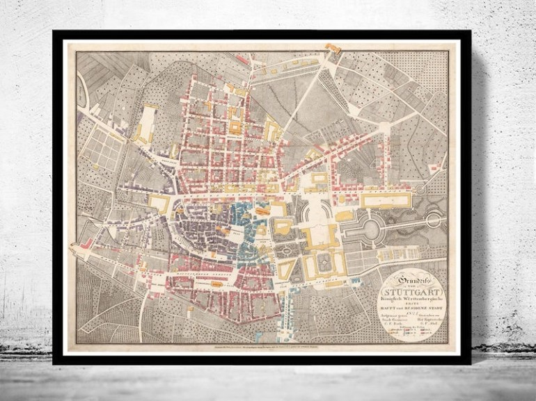 Old Map Of Stuttgart Germany 1821 Vintage Map - Vintage for Stuttgart On World Map