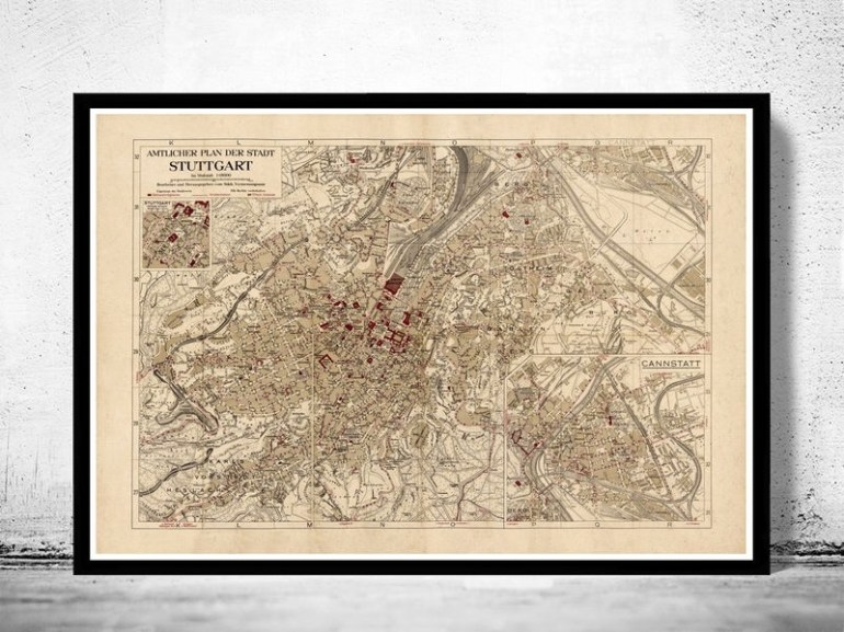 Old Map Of Stuttgart Germany 1925 Vintage Map - Vintage with Maps Of Stuttgart Germany