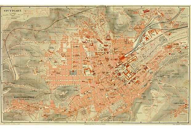 Stuttgart, Germany, C. 1880 On Onekingslane. Map Of regarding Stuttgart On World Map