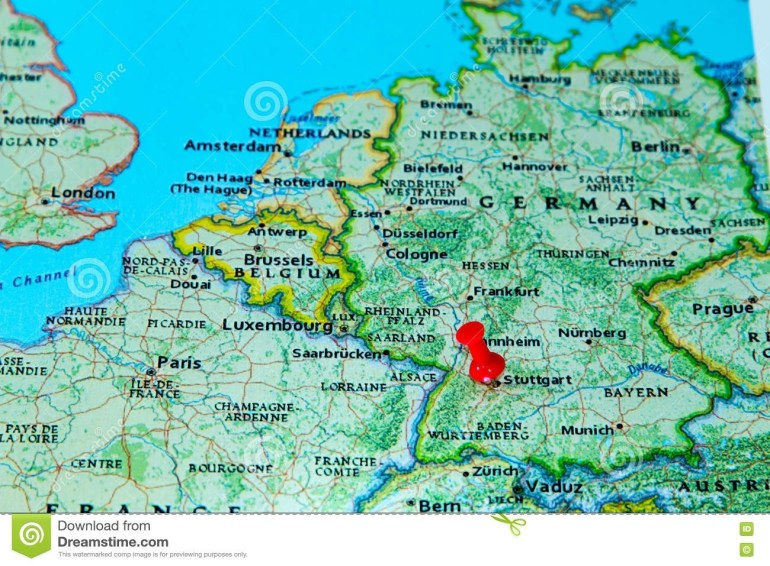 Stuttgart, Germany Pinned On A Map Of Europe Stock Photo with regard to Stuttgart Germany On The Map