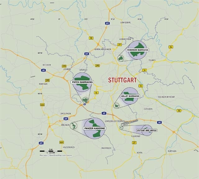 The Stuttgart Military Community Installations throughout Stuttgart On Germany Map