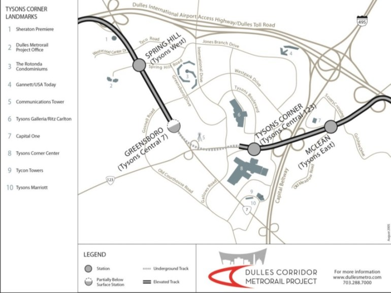 Tysons Corner Detailed Map (Source: Dulles Corridor for Stuttgart Metro Map 2019