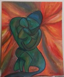 Abstract painting of mother and child by Oya Arts
