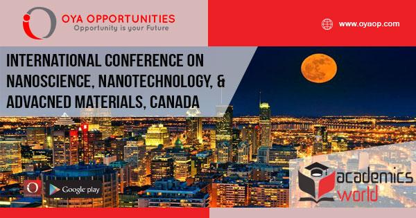 International Conference on Nanoscience, Nanotechnology, and Advacned Materials, Canada