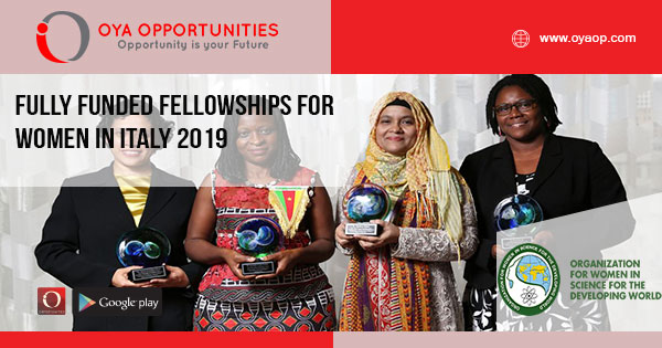 Fully Funded Fellowships for Women in Italy 2019