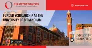 Funded Scholarship at the University of Birmingham