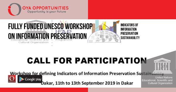 Fully Funded UNESCO Workshop on Information Preservation