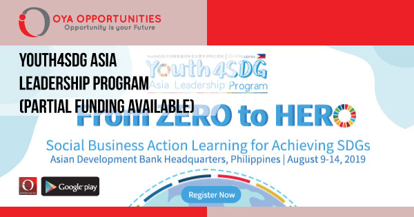 Youth4SDG Asia Leadership Program (Partial Funding Available)