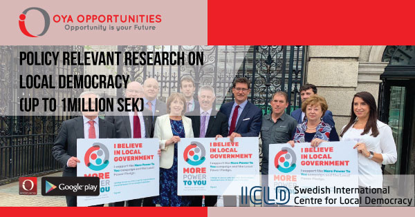 Policy Relevant Research on Local Democracy (up to 1million SEK)