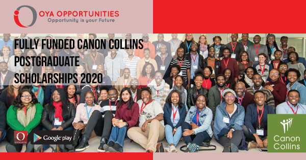 Fully Funded Canon Collins Postgraduate Scholarships 2020