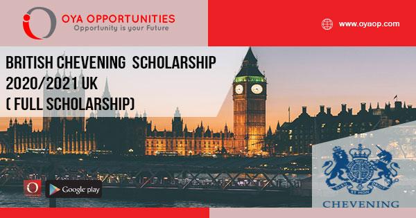 British Chevening Scholarship 2020/2021 UK ( Full Scholarship)