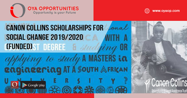 Canon Collins Scholarships for Social Change 2019/2020 (Funded)
