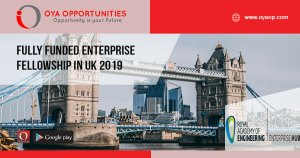Fully Funded Enterprise Fellowship in UK 2019