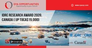 IDRC Research award 2020, Canada ( up toCA$15,000)