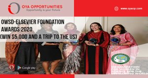 OWSD-Elsevier Foundation Awards 2020 (Win $5,000 and a trip to the US)