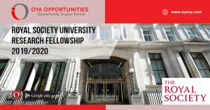 Royal Society University Research Fellowship 2019/2020