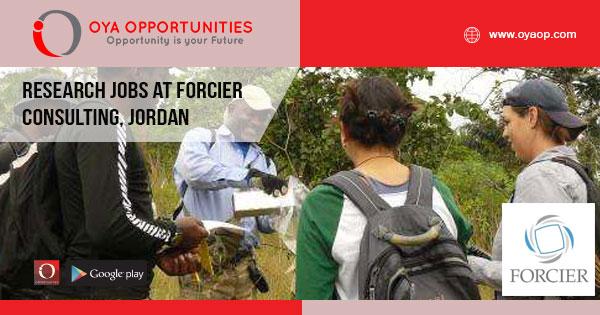 Research jobs at Forcier Consulting, Jordan