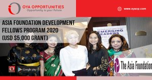 Asia Foundation Development Fellows Program 2020 (USD $5,000 grant)